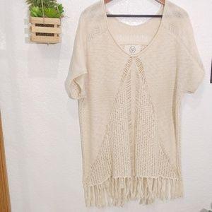 Sloan Rouge Anthropolige Boho Fringe open knit top